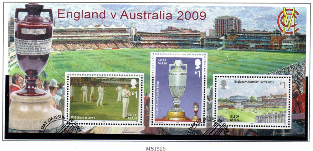Isle of Man Scott  1325 2009 The Ashes stamp sheet  used