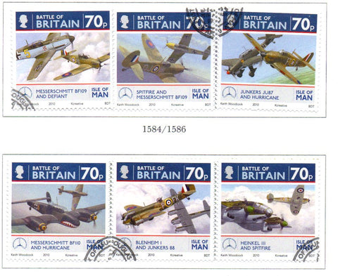 Isle of Man Scott  1366-7 2010 Battle of Britain stamp set  used