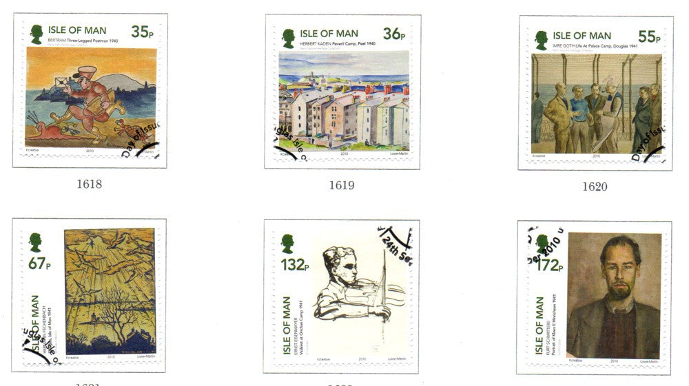 Isle of Man Scott  1394-9 2010 Internment Art stamp set  used