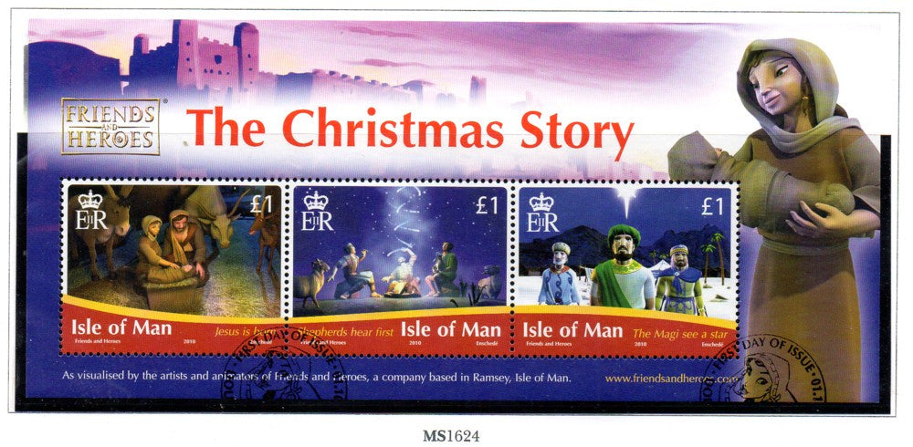 Isle of Man Scott  1400 2010 Christmas Story stamp sheet  used