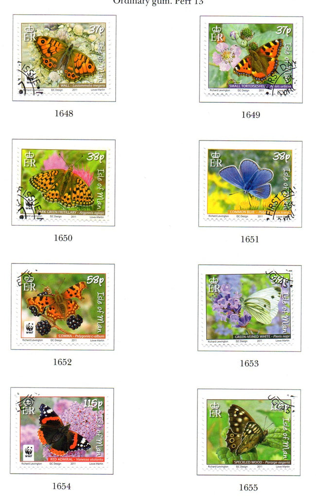 Isle of Man Scott  1426-33 2011 Butterflies stamp set  used
