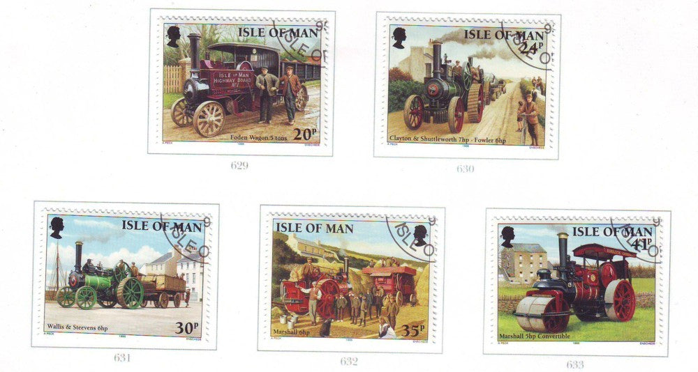 Isle of Man Scott 628-32 1995 Steam Vehicles stamp set used