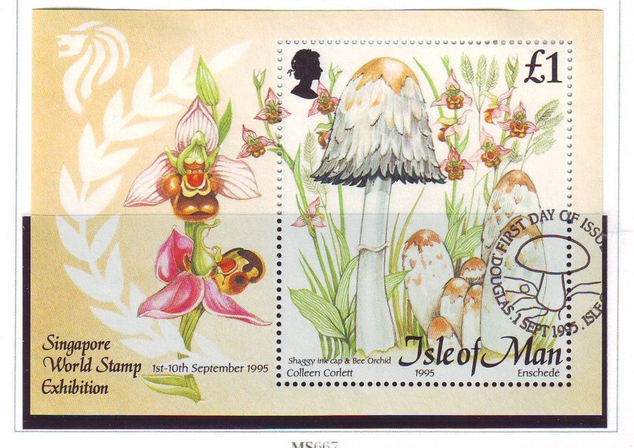 Isle of Man Scott 655 1995 Mushrooms stamp sheet used