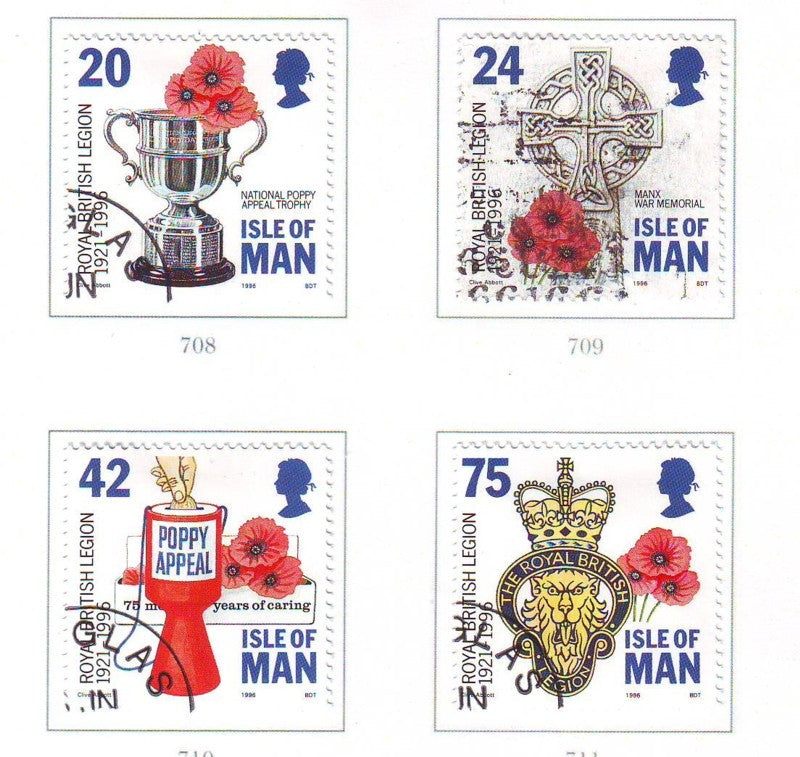 Isle of Man Scott 706-9 1996 Royal British Legion stamp set used