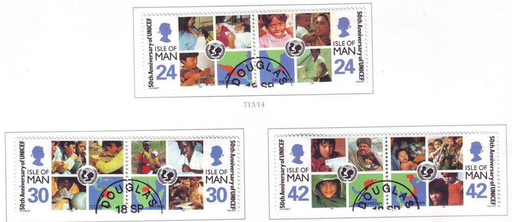 Isle of Man Scott 710-15 1996 UNICEF 50 Years stamp set used