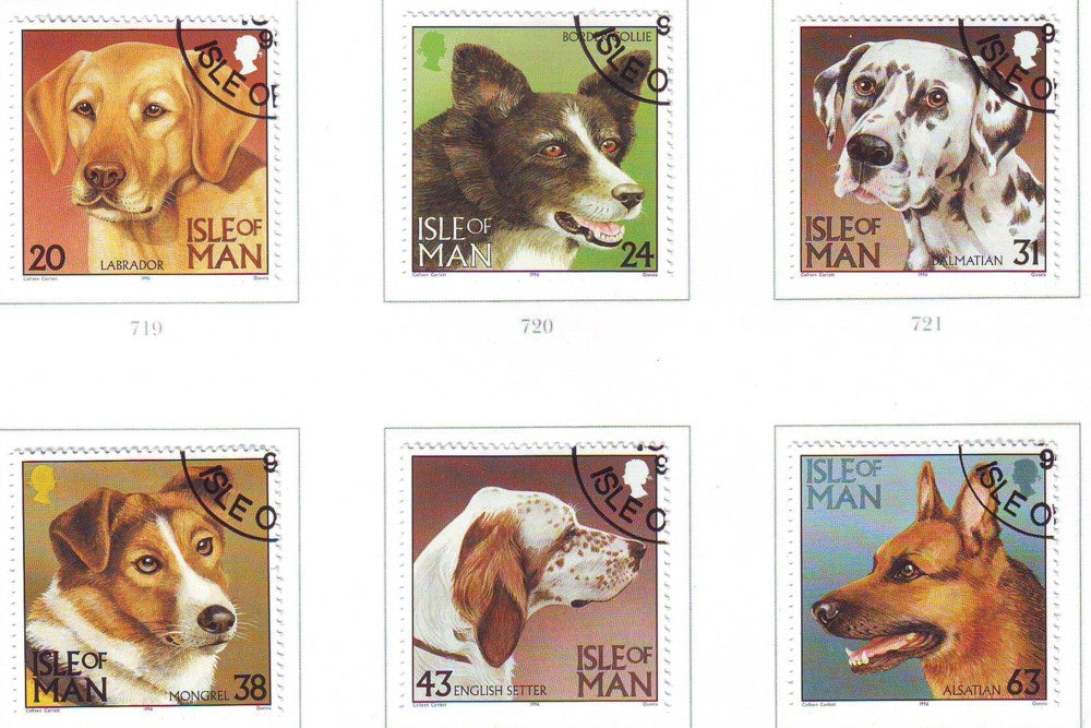 Isle of Man Scott 716-21 1996 Dogs stamp set used