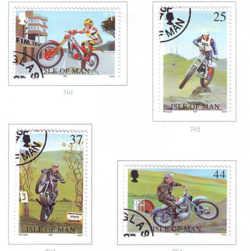 Isle of Man Scott  757-60 1997 Motorcycle Races stamp set used