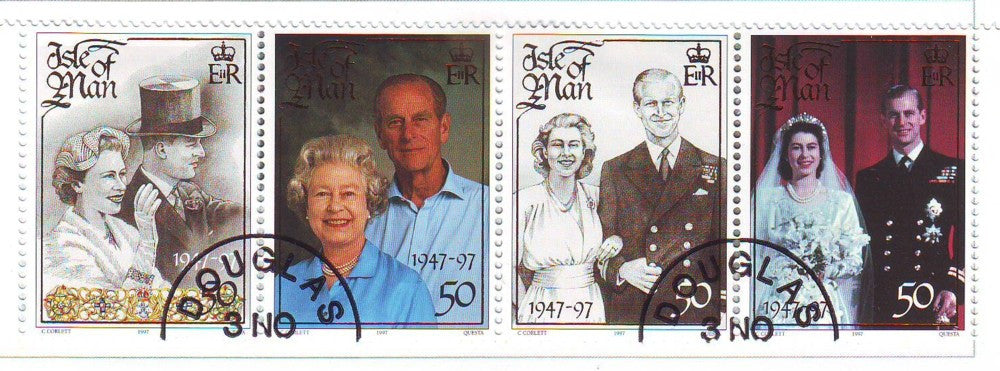 Isle of Man Scott  761 1997 Golden Wedding Anniversary QE II stamp set used