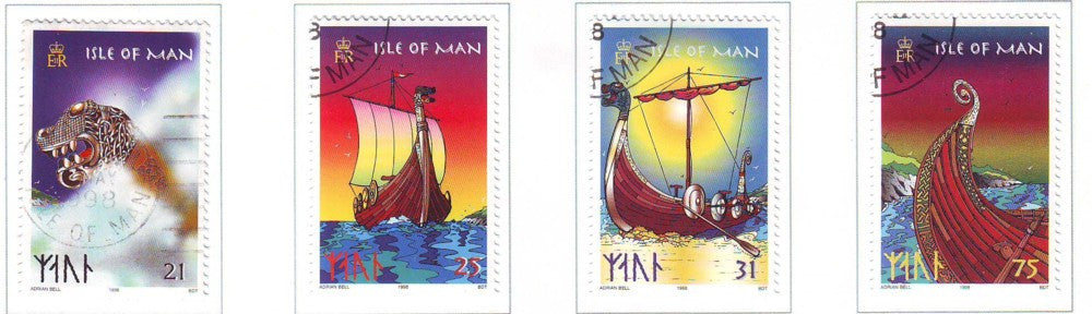 Isle of Man Scott  771-4 1998  Viking Longships stamp set used