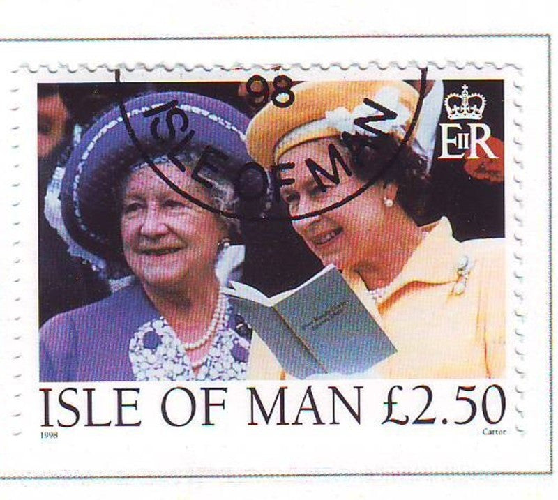 Isle of Man Scott  802 1998  QE II & Queen Mother stamp used