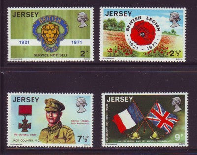 Jersey Sc 53-56 1971 British Legion stamp set mint NH