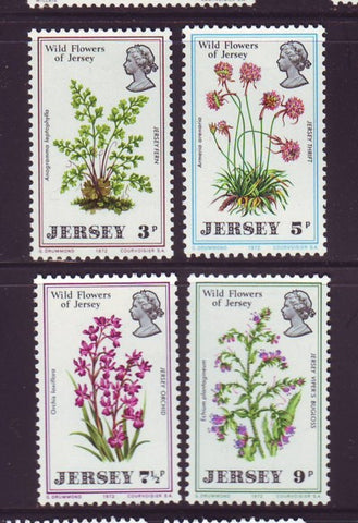 Jersey Sc 61-4  1972 Wildflowers stamp set mint NH