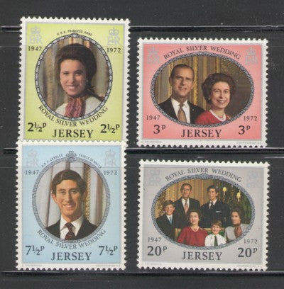 Jersey Sc 73-6 1972  QE II 25th Wedding Anniversary  stamp set mint NH