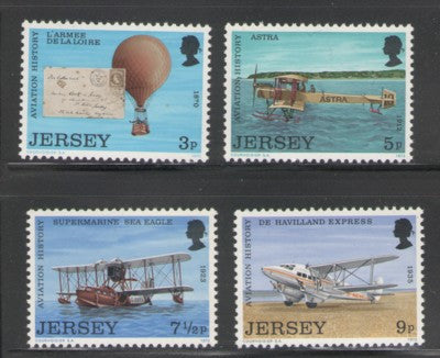 Jersey Sc 81-4 1973 Jersey Aviation History stamp set mint NH