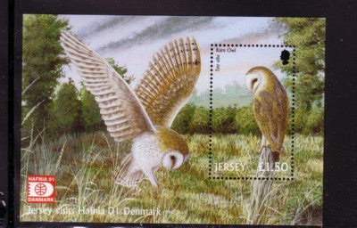 Jersey Scott  1003a 2001 Barn Owl  HAFNIA '01 stamp sheet mint NH