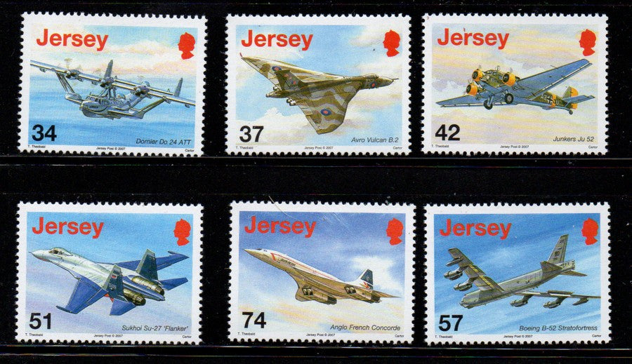 Jersey Scott 1281-6 2007 Airplanes stamp set mint NH