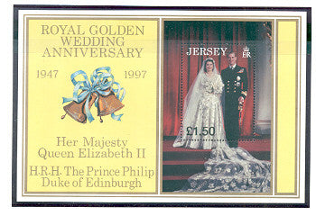 Jersey Scott  824 1997 Royal Golden Wedding Anniversary stamp sheet mint NH