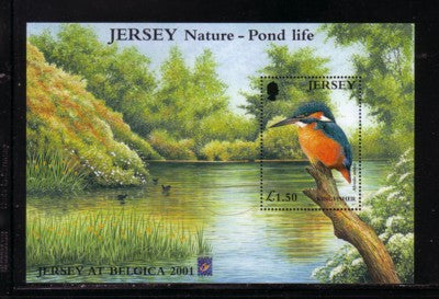 Jersey Scott  995a 2001 Kingfisher Pond Life BELGICA stamp sheet mint NH