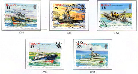 Jersey Scott  1013-17 2002 State Vessels stamp set used