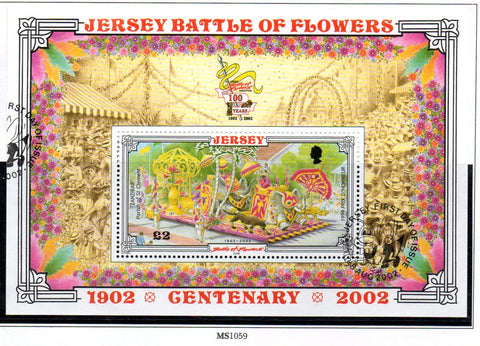 Jersey Scott  1048 2002 Battle of Flowers stamp sheet used