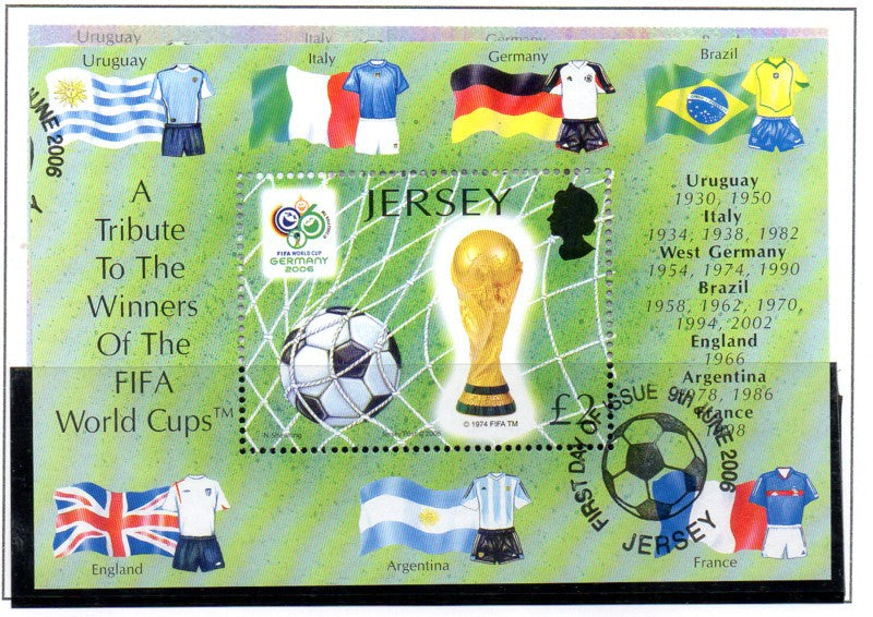 Jersey Scott 1216 2006 World Cup Soccer stamp sheet used