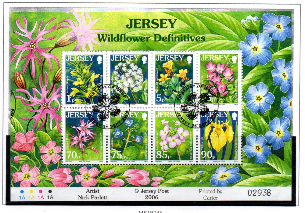 Jersey Scott 1235a 2006 Wildflowers sheet used