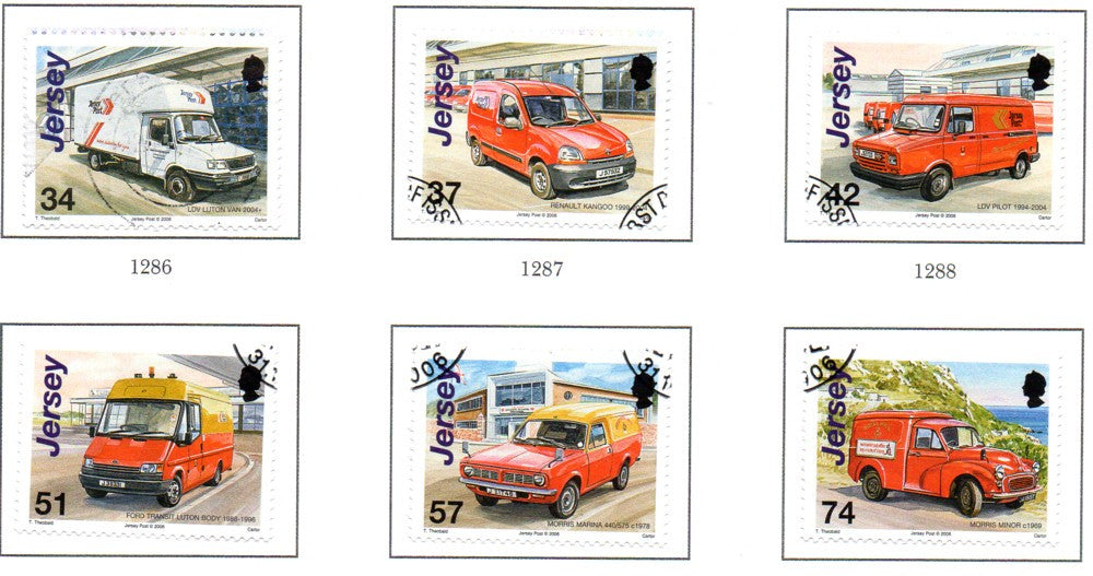 Jersey Scott 1236-41 2006 Postal Vehicles stamp set used
