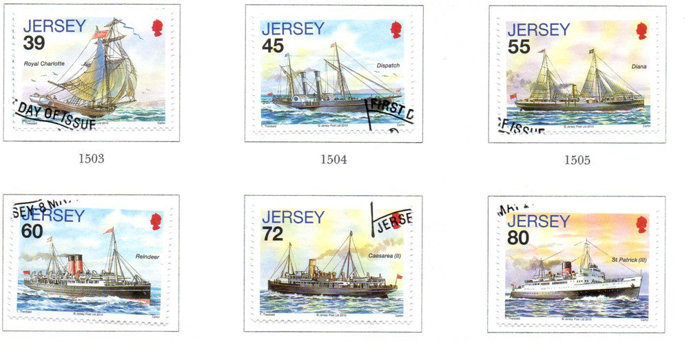 Jersey Scott  1442-7  2010 Mail Ships stamp set used