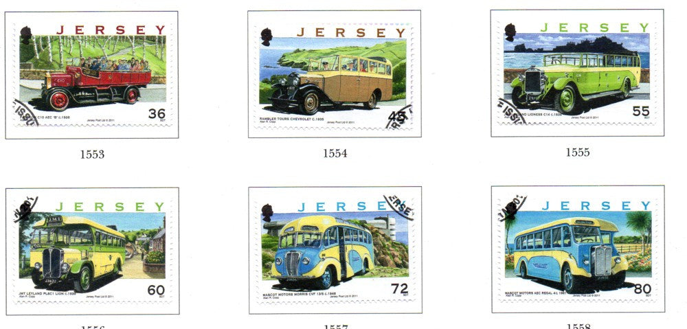 Jersey Scott  1484-89 2011 Buses stamp set used
