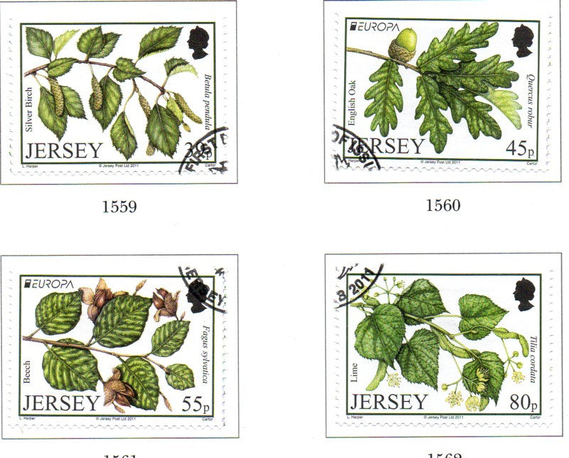 Jersey Scott  1490-33 2011 Europa Forests stamp set used
