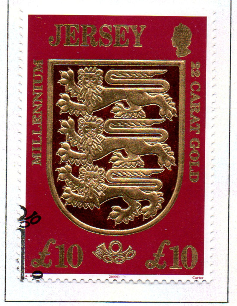 Jersey Sc 933 2000 £10 Coat of Arms, Lions, stamp used