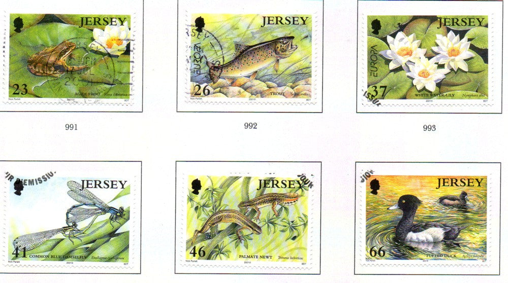 Jersey Scott  989-94 2001 Europa Pond Life  stamp set used