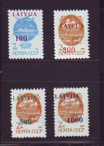 Latvia Scott  308-11 1991 LATVIJA overprints stamp set mint NH