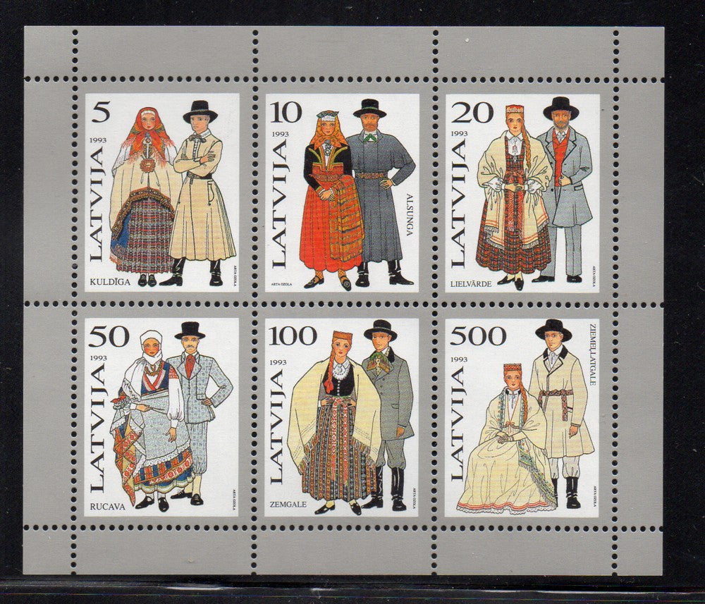 Latvia Scott 348a 1993 Traditional Costumes stamp souvenir sheet mint NH