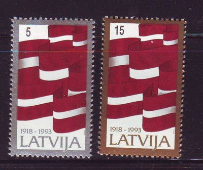 Latvia Scott 353-4 1993 75th Anniversary stamp set mint NH
