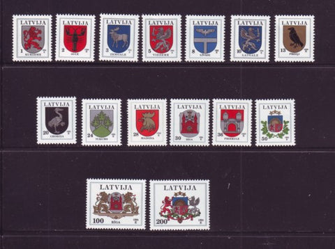 Latvia Scott  363-77A 1994 Coats of Arms long stamp set mint NH