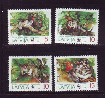 Latvia Scott 381-4 1994 WWF Doormouse stamp set mint NH