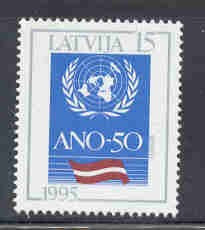 Latvia Scott  393 1995 50th Anniversary UN stamp mint NH