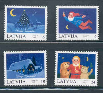 Latvia Scott  409-12 1995 Christmas stamp set mint NH