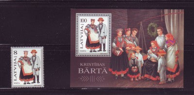 Latvia Scott  415-16 1996  Barta Costumes, stamp & sheet mint NH