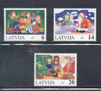 Latvia Scott  433-5 1996 Christmas stamp set mint NH