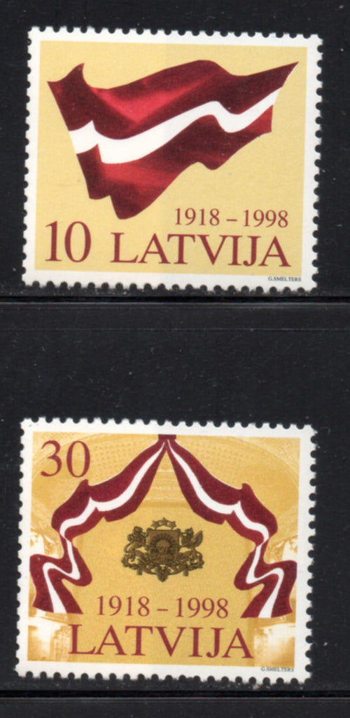 Latvia Scott  477-8  1998 80th Anniversary Independence stamp set mint NH