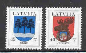 Latvia  Scott  482-3  1999 Coats of Arms stamp set mint NH