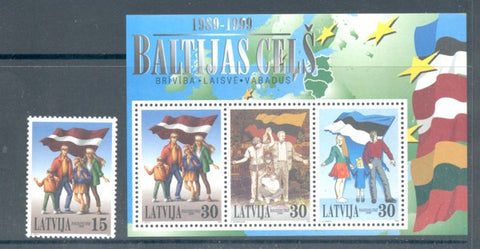 Latvia  Scott  493-4 1999  Baltic Chain stamp & sheet mint NH
