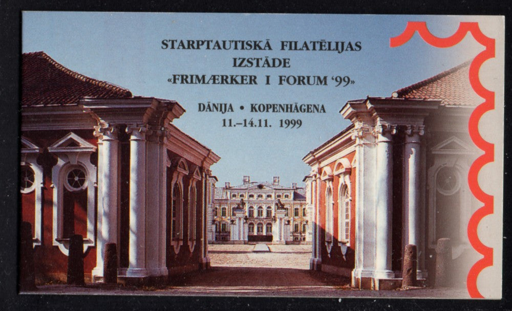 Latvia Scott 495a  Rundale Palace Copenhagen 1999 stamp booklet mint NH
