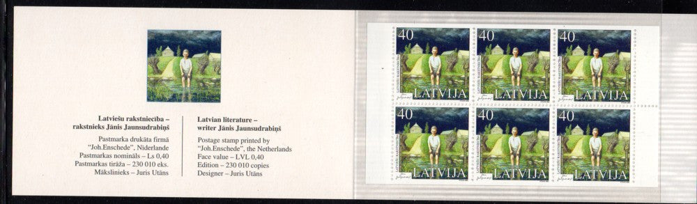 Latvia Scott 553a 2000 Jaunsudrabins stamp booklet Philakorea mint NH