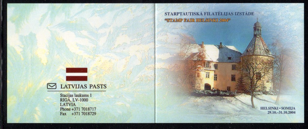 Latvia Scott 603a 2004 Palace stamp booklet pane Helsinki  mint NH