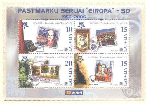 Latvia Scott 637 2006 50th Anniversary Europa stamps souvenir sheet mint NH
