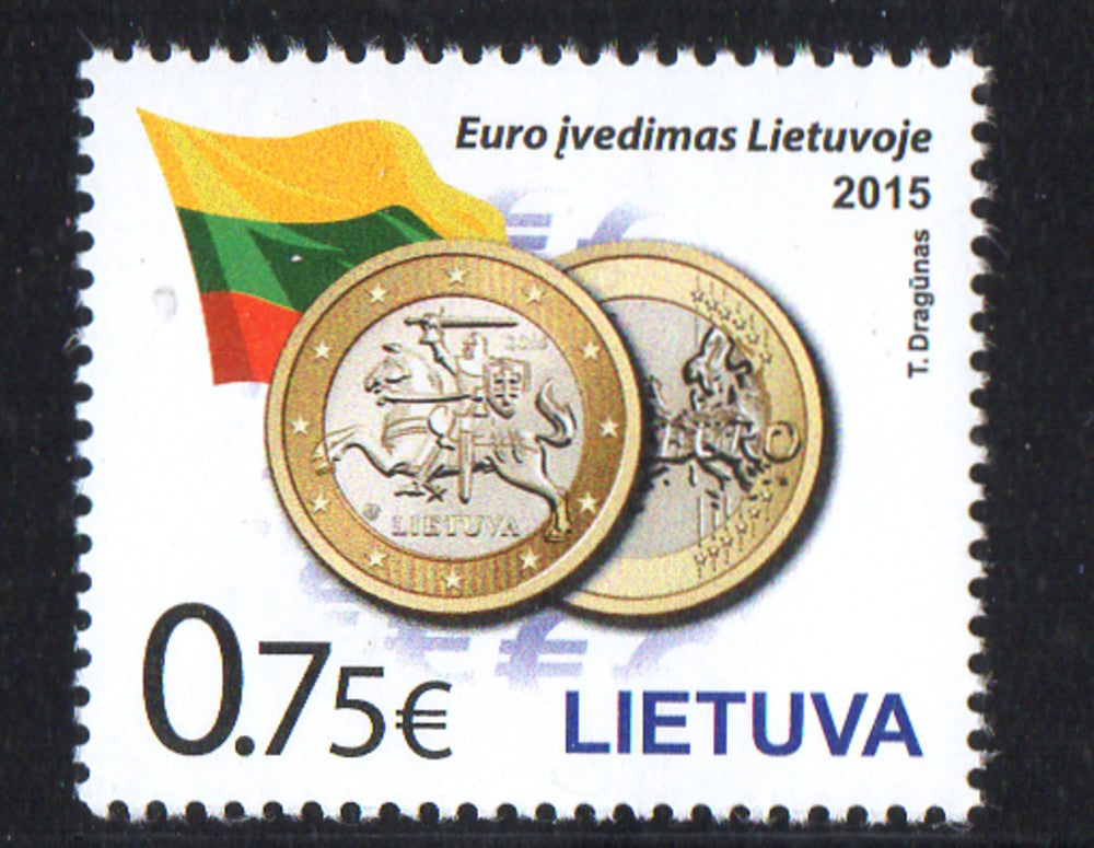 Lithuania Sc 1038 2015 Introduction of Euro stamp mint NH