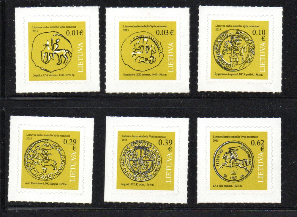 Lithuania Sc 1039-44 2015 Euro Coin definitives stamp set mint NH